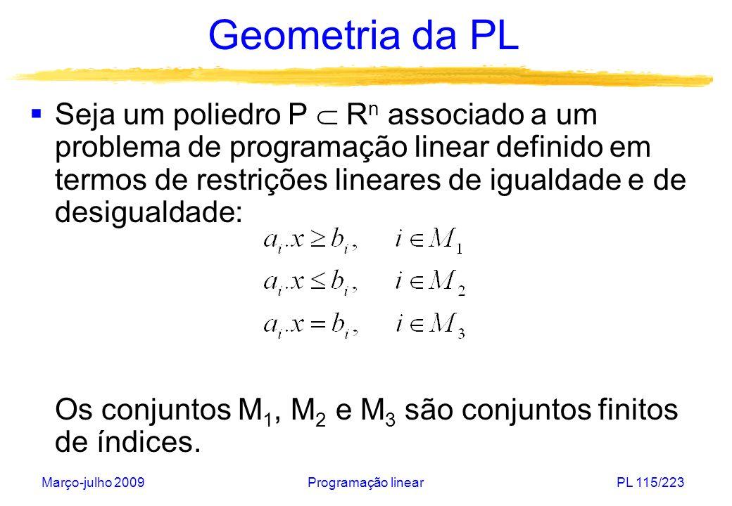 Março-julho 2009Programação linearPL 116/223 Geometria da PL Se um vetor (isto é, uma solução do PPL) x* satisfaz a i.x* = b i para algum i em M 1, M 2 ou M 3, diz-se então que a restrição correspondente está ativa em x*.