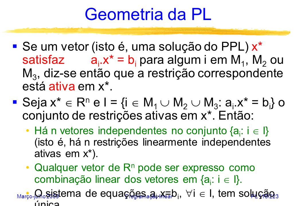 Março-julho 2009Programação linearPL 117/223 Geometria da PL Diz-se que os vetores x 1, x 2,..., x k de R n são linearmente independentes se nenhum deles pode ser obtido como uma combinação linear dos demais, isto é: 1.x 1 + 2.x 2 +...