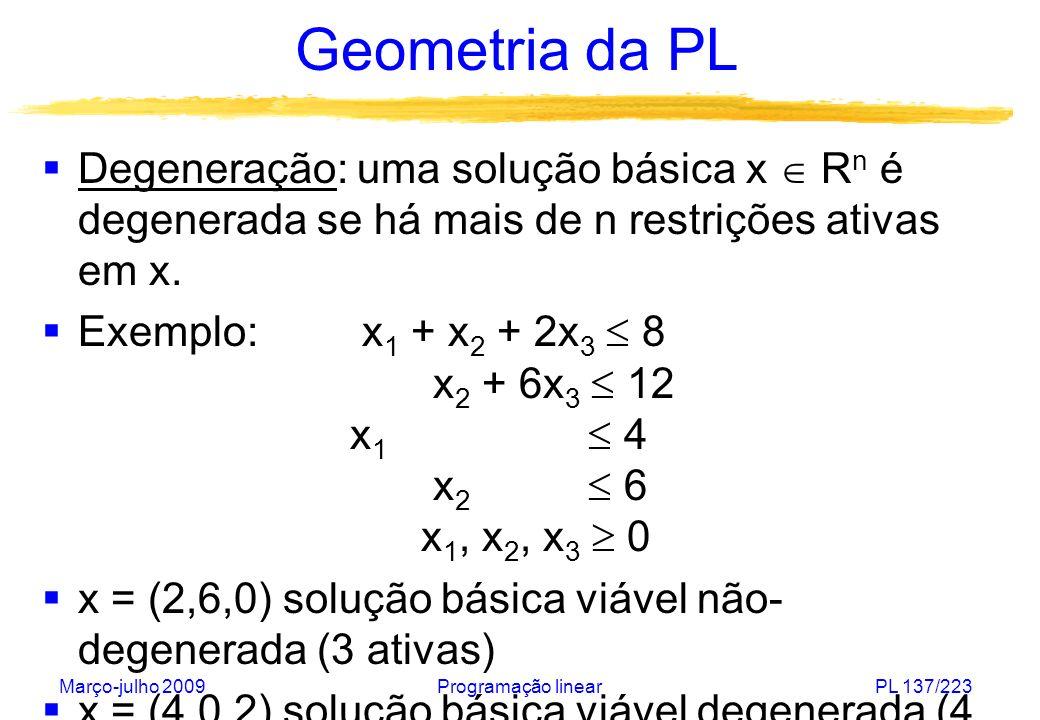 Março-julho 2009Programação linearPL 138/223 Geometria da PL A B C D E F P A: solução básica B: solução básica degenerada F: solução básica viável não-degenerada G E: solução básica viável degenerada H