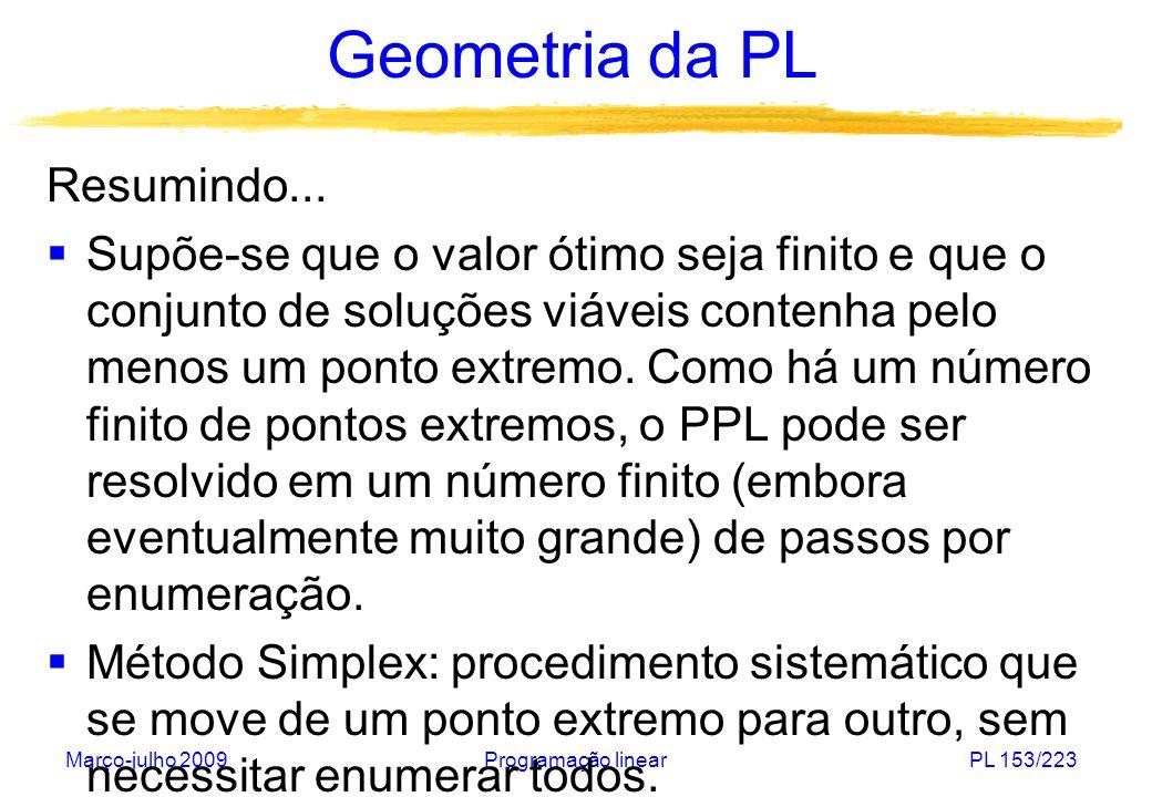 Março-julho 2009Programação linearPL 153/223 Geometria da PL Resumindo... Supõe-se que o valor ótimo seja finito e que o conjunto de soluções viáveis