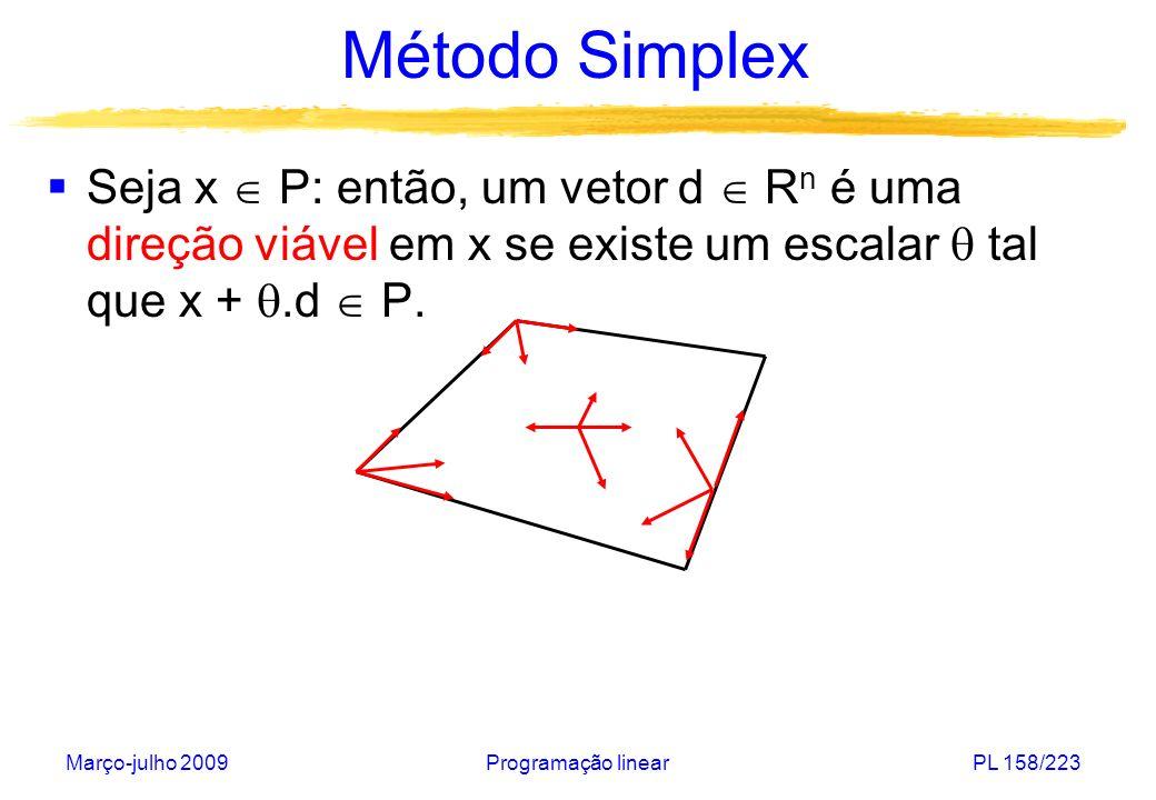 Março-julho 2009Programação linearPL 158/223 Método Simplex Seja x P: então, um vetor d R n é uma direção viável em x se existe um escalar tal que x +