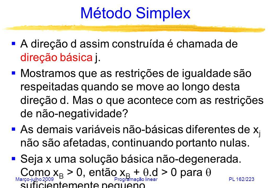 Março-julho 2009Programação linearPL 162/223 Método Simplex A direção d assim construída é chamada de direção básica j. Mostramos que as restrições de