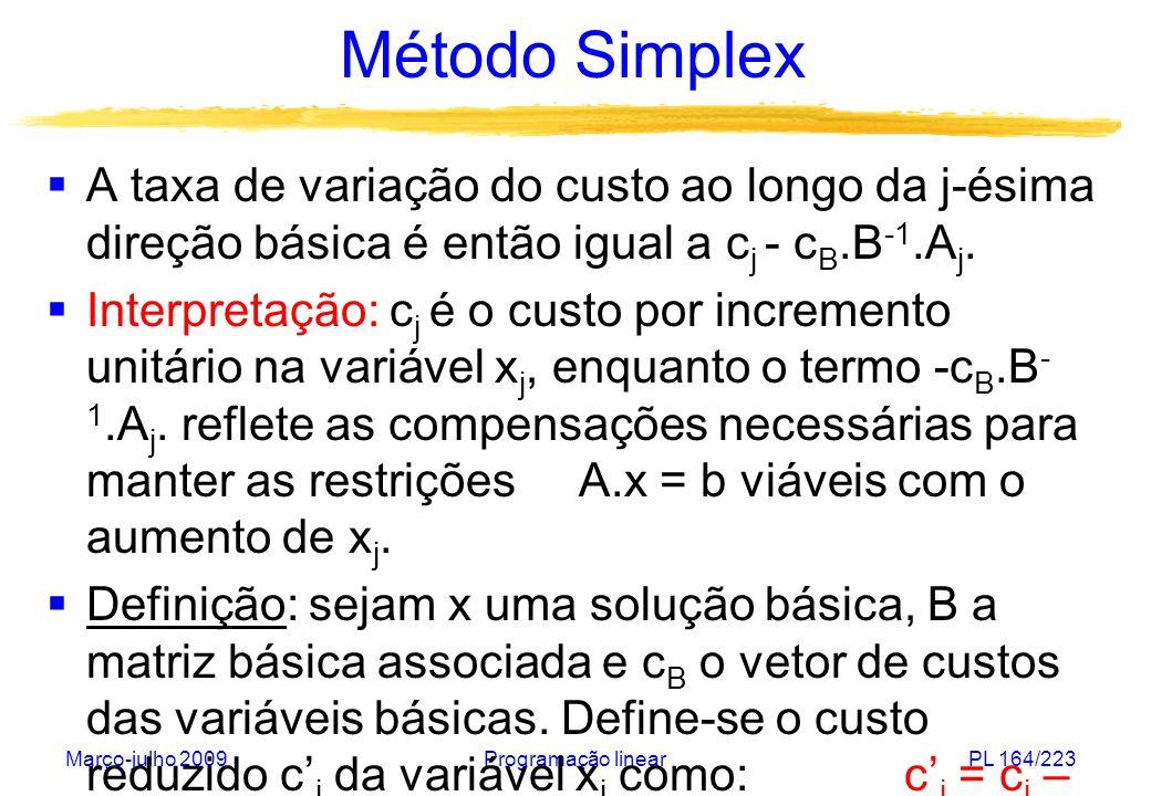 Março-julho 2009Programação linearPL 164/223 Método Simplex A taxa de variação do custo ao longo da j-ésima direção básica é então igual a c j - c B.B