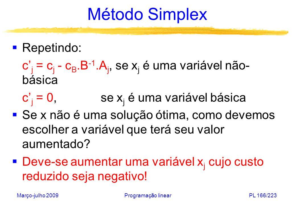 Março-julho 2009Programação linearPL 166/223 Método Simplex Repetindo: c j = c j - c B.B -1.A j, se x j é uma variável não- básica c j = 0, se x j é u