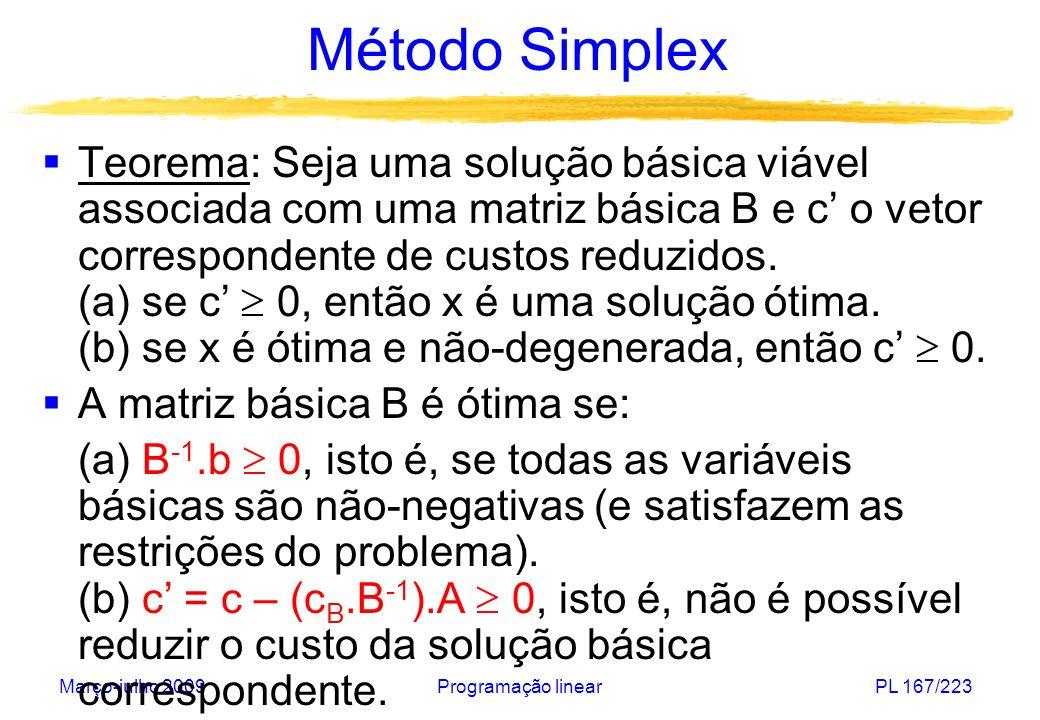 Março-julho 2009Programação linearPL 167/223 Método Simplex Teorema: Seja uma solução básica viável associada com uma matriz básica B e c o vetor corr