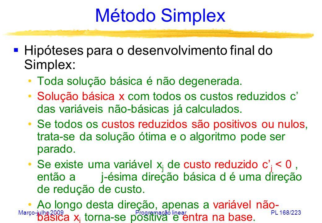 Março-julho 2009Programação linearPL 168/223 Método Simplex Hipóteses para o desenvolvimento final do Simplex: Toda solução básica é não degenerada. S