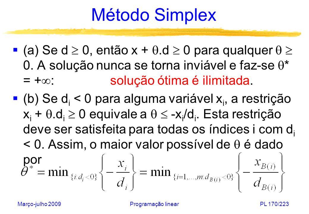 Março-julho 2009Programação linearPL 170/223 Método Simplex (a) Se d 0, então x +.d 0 para qualquer 0. A solução nunca se torna inviável e faz-se * =