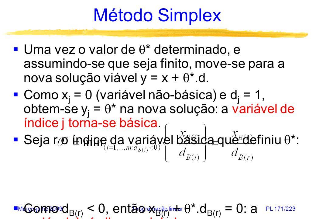 Março-julho 2009Programação linearPL 171/223 Método Simplex Uma vez o valor de * determinado, e assumindo-se que seja finito, move-se para a nova solu
