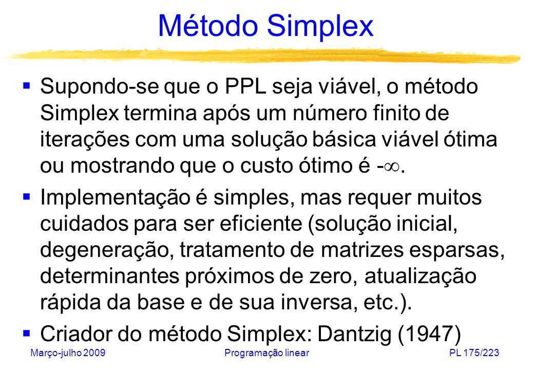 Março-julho 2009Programação linearPL 175/223 Método Simplex Supondo-se que o PPL seja viável, o método Simplex termina após um número finito de iteraç