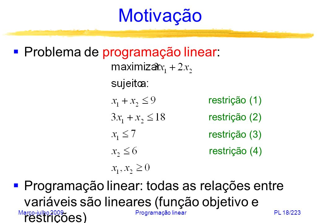 Março-julho 2009Programação linearPL 18/223 Motivação Problema de programação linear: Programação linear: todas as relações entre variáveis são linear