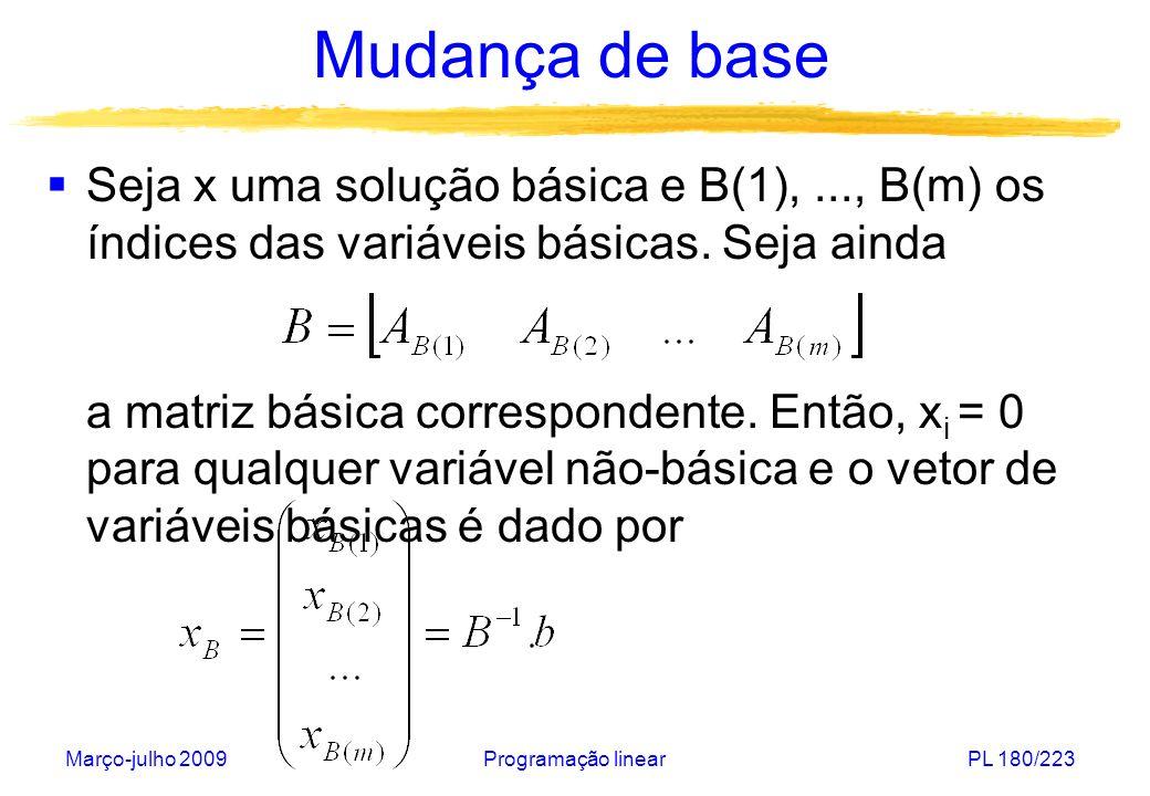 Março-julho 2009Programação linearPL 180/223 Mudança de base Seja x uma solução básica e B(1),..., B(m) os índices das variáveis básicas. Seja ainda a