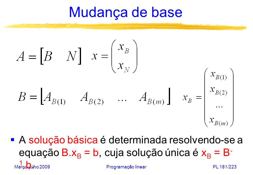 Março-julho 2009Programação linearPL 182/223 Mudança de base Dada uma solução básica, a cada iteração o Simplex obtém outra de menor custo Custo de uma solução básica Solução viável qualquer :