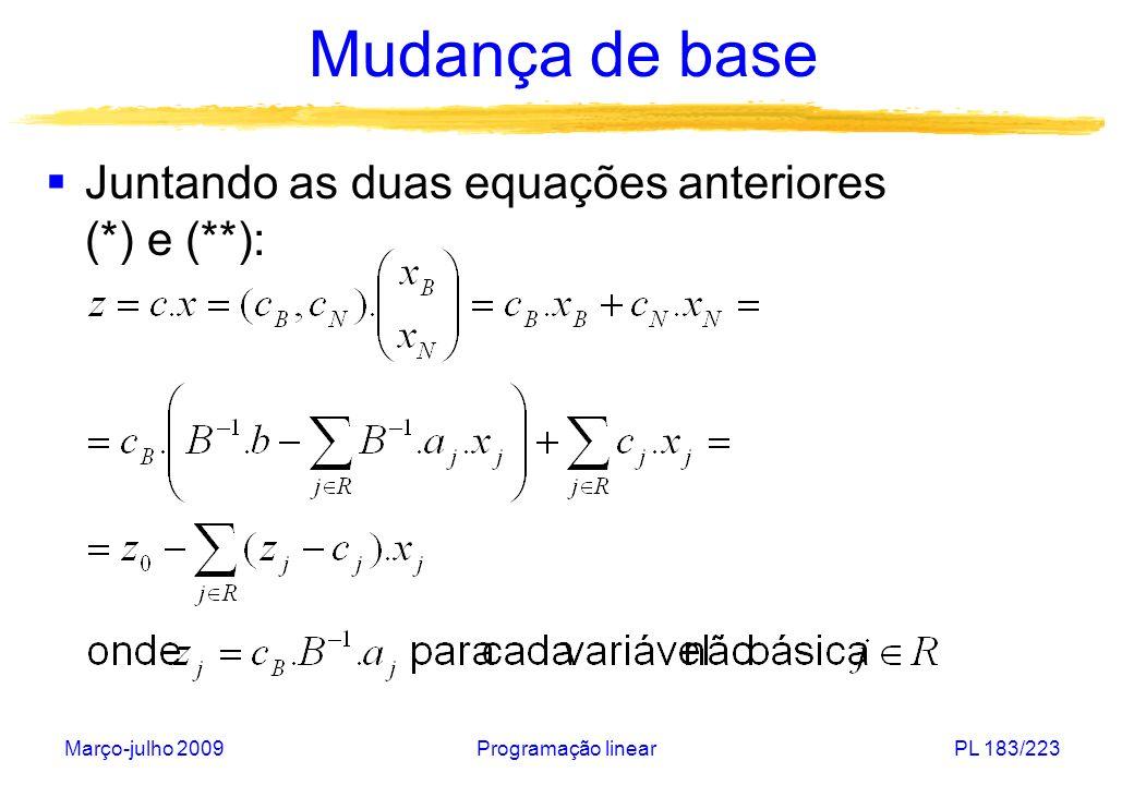 Março-julho 2009Programação linearPL 183/223 Mudança de base Juntando as duas equações anteriores (*) e (**):