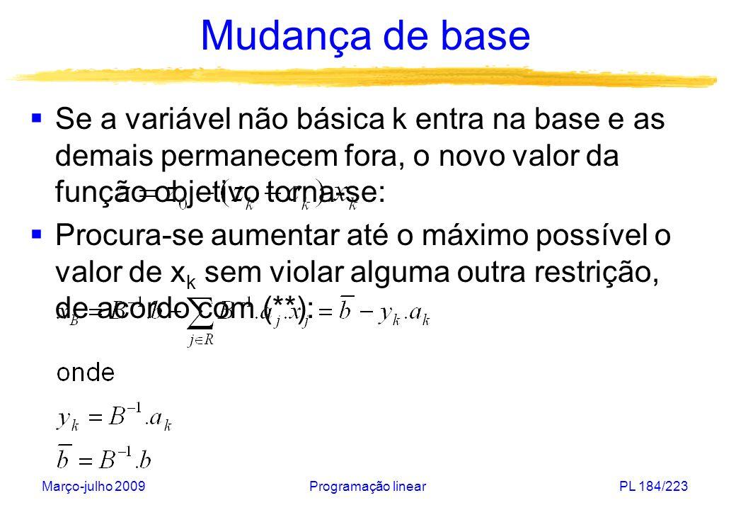 Março-julho 2009Programação linearPL 185/223 Mudança de base Se y ik 0 então x B i aumenta com x k e permanece não-negativa (todos negativos: solução ilimitada) Se y ik > 0 então x B i diminui com x k e pode tornar-se negativa.