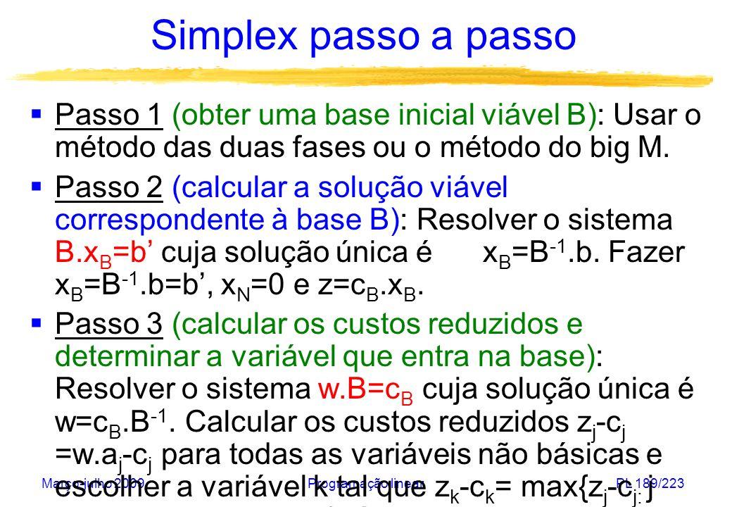 Março-julho 2009Programação linearPL 190/223 Simplex passo a passo Passo 4 (testar se o problema é ilimitado): Resolver o sistema B.y k =a k cuja solução única é y k =B -1.a k.