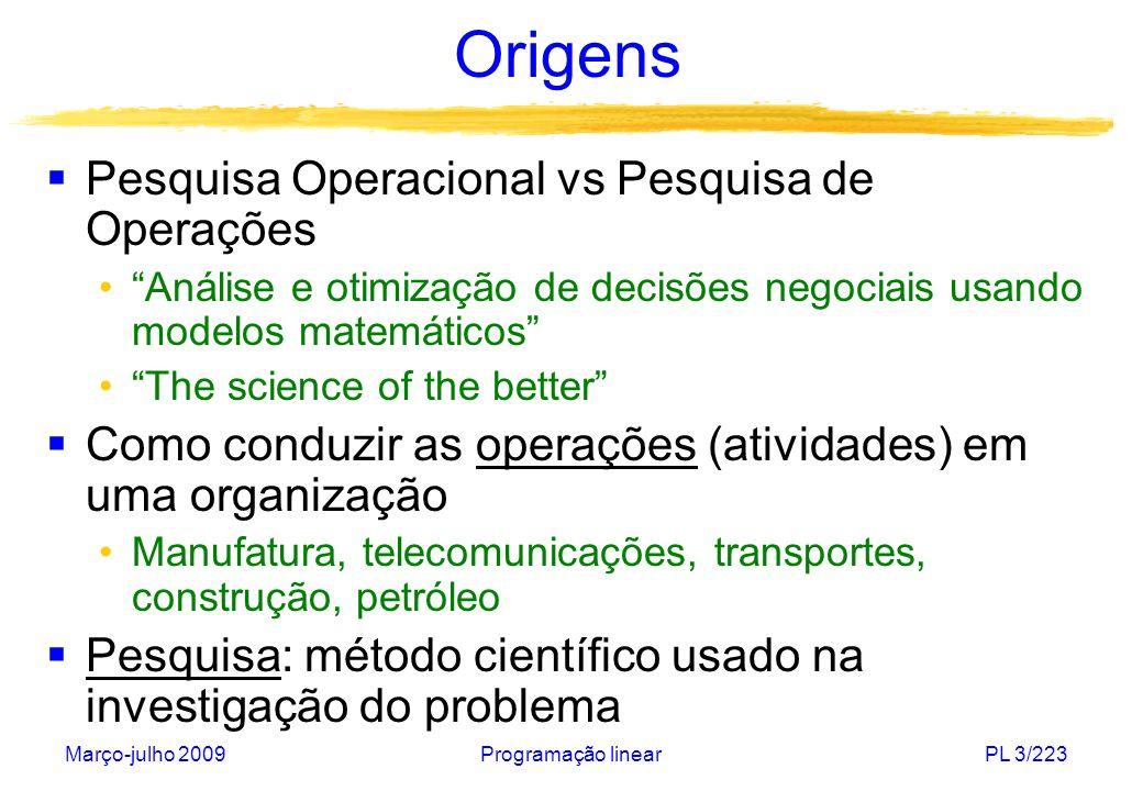 Março-julho 2009Programação linearPL 3/223 Origens Pesquisa Operacional vs Pesquisa de Operações Análise e otimização de decisões negociais usando mod