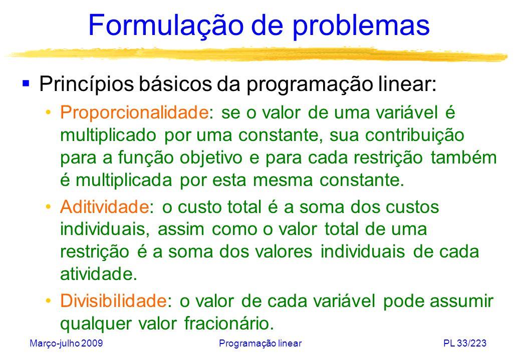 Março-julho 2009Programação linearPL 34/223 Formulação de problemas (I) Problema das ligas metálicas: Uma metalúrgica deseja maximizar sua receita bruta.
