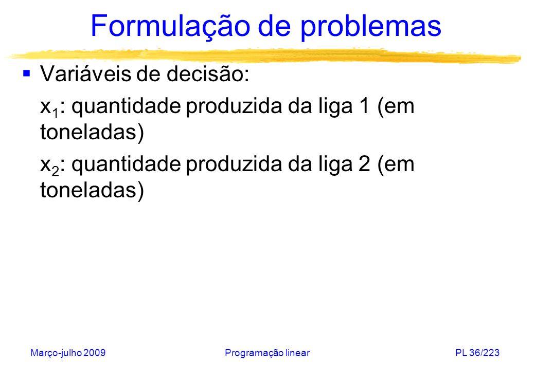 Março-julho 2009Programação linearPL 37/223 Formulação de problemas Função objetivo: maximizar 3.000 x 1 + 5.000 x 2 Disponibilidade das matérias primas: 0,5 x 1 + 0,2 x 2 16 cobre 0,25 x 1 + 0,3 x 2 11 zinco 0,25 x 1 + 0,5 x 2 15 chumbo Todas as quantidades produzidas são não- negativas: x 1, x 2 0
