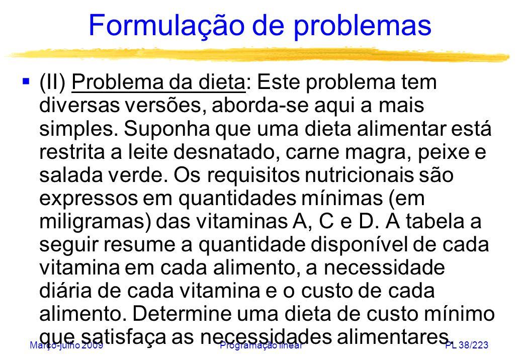 Março-julho 2009Programação linearPL 39/223 Formulação de problemas Vitamin a Leite (litro) Carn e (kg) Peixe (kg) Salad a (100g ) Requisit o mínimo A2 mg 10 mg 20 mg 11 mg C 50 mg 20 mg 10 mg 30 mg 70 mg D 80 mg 70 mg 10 mg 80 mg 250 mg Custo241,51 (slide 178)