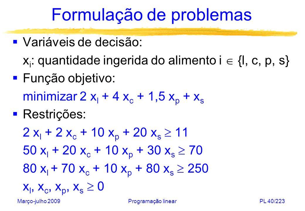 Março-julho 2009Programação linearPL 40/223 Formulação de problemas Variáveis de decisão: x i : quantidade ingerida do alimento i {l, c, p, s} Função