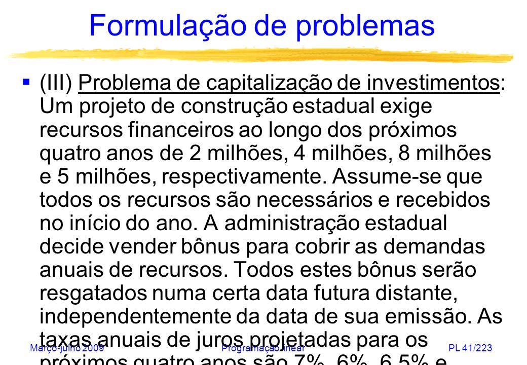 Março-julho 2009Programação linearPL 41/223 Formulação de problemas (III) Problema de capitalização de investimentos: Um projeto de construção estadua