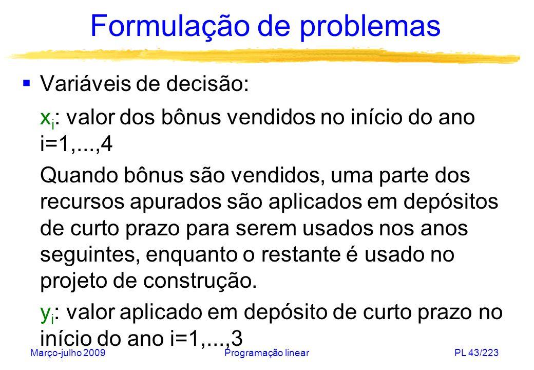 Março-julho 2009Programação linearPL 43/223 Formulação de problemas Variáveis de decisão: x i : valor dos bônus vendidos no início do ano i=1,...,4 Qu