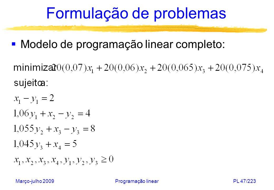 Março-julho 2009Programação linearPL 48/223 Formulação de problemas (IV) Problema de planejamento da produção: Uma empresa fabrica n produtos usando m matérias primas.
