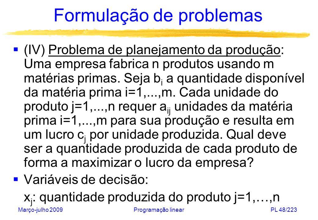Março-julho 2009Programação linearPL 48/223 Formulação de problemas (IV) Problema de planejamento da produção: Uma empresa fabrica n produtos usando m