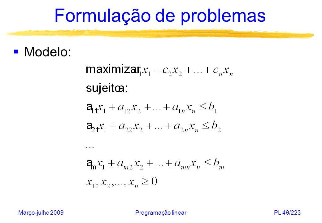 Março-julho 2009Programação linearPL 49/223 Formulação de problemas Modelo: