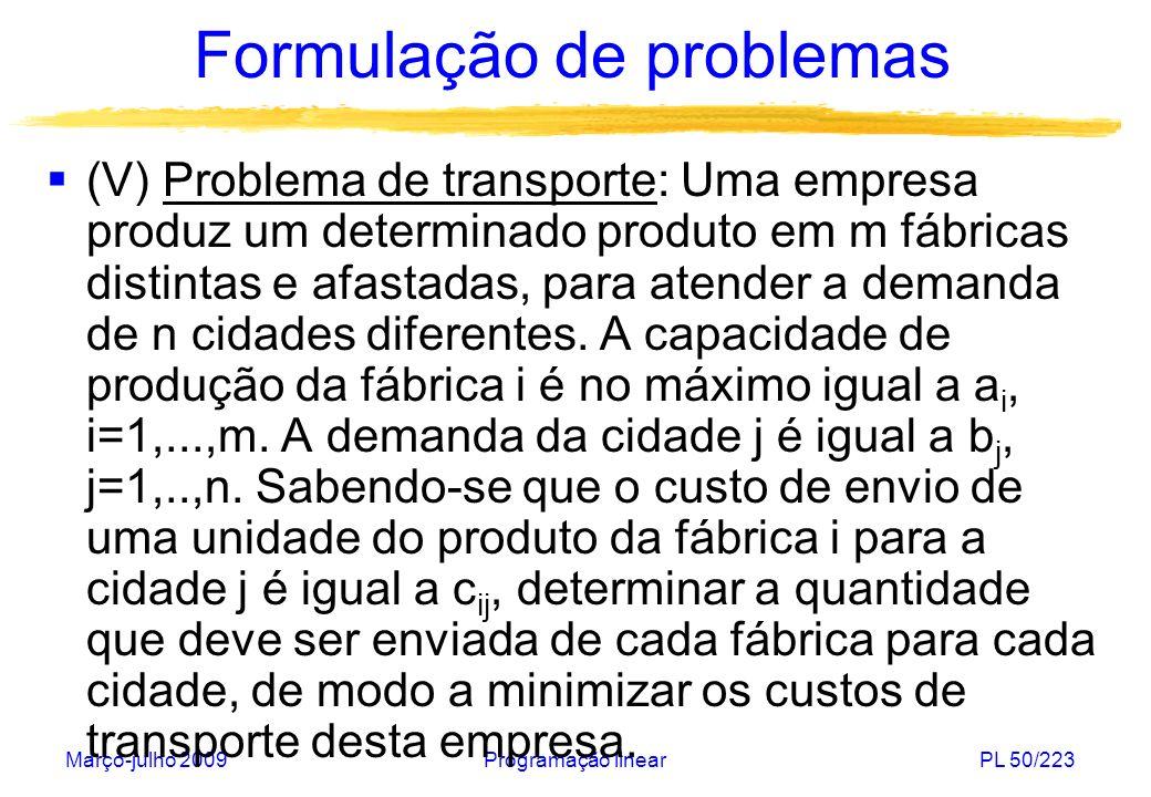 Março-julho 2009Programação linearPL 51/223 Formulação de problemas 1 m 2 a1a1 a2a2 amam 1 n 2 b1b1 b2b2 bnbn c 11 c mn Variáveis de decisão: x ij : quantidade enviada da fábrica i para a cidade j