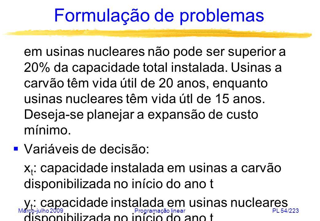 Março-julho 2009Programação linearPL 55/223 Formulação de problemas Função objetivo: custo da expansão de capacidade: Capacidade instalada em usinas a carvão disponibilizada no início do ano t=1,...,T: Capacidade instalada em usinas nucleares disponibilizada no início do ano t=1,…,T: