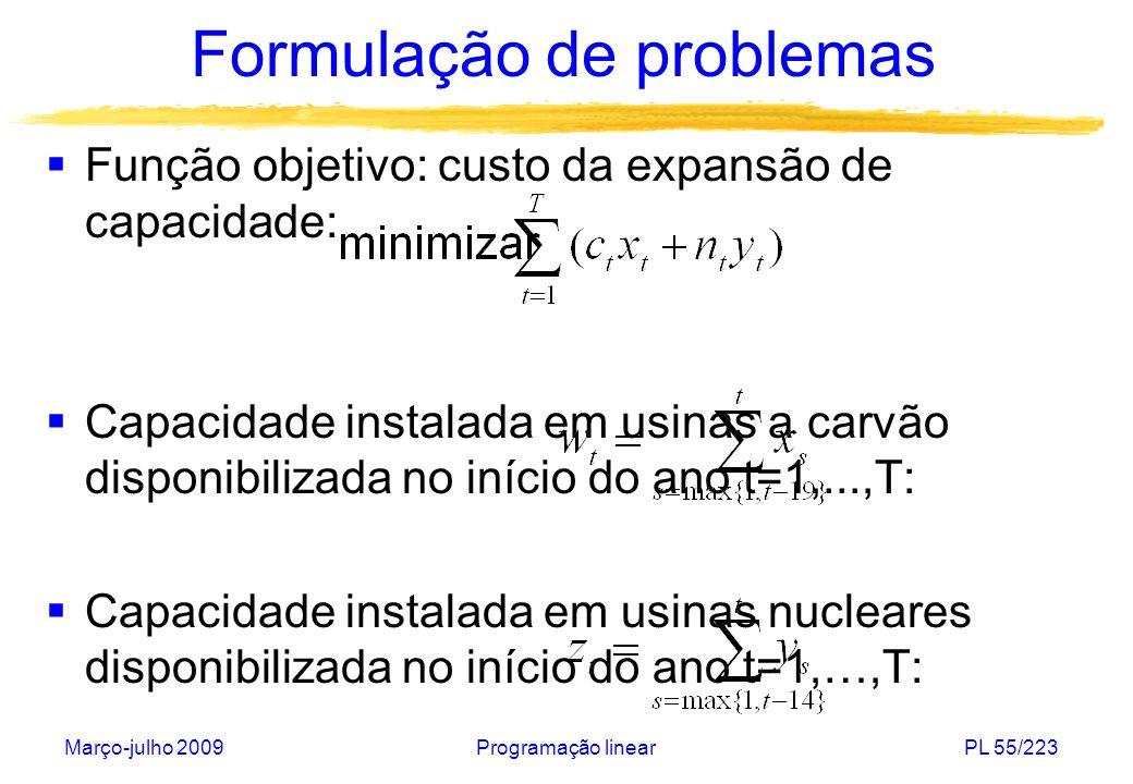 Março-julho 2009Programação linearPL 56/223 Formulação de problemas Atendimento à demanda no ano t=1,...,T: Fração da capacidade instalada em nucleares no ano t=1,...,T: