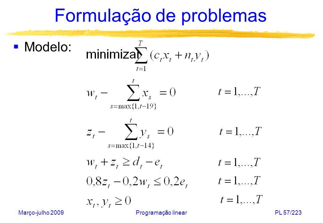 Março-julho 2009Programação linearPL 57/223 Formulação de problemas Modelo: