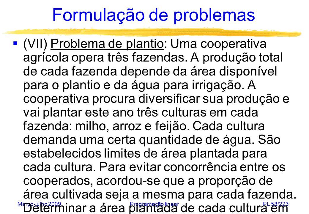 Março-julho 2009Programação linearPL 58/223 Formulação de problemas (VII) Problema de plantio: Uma cooperativa agrícola opera três fazendas. A produçã