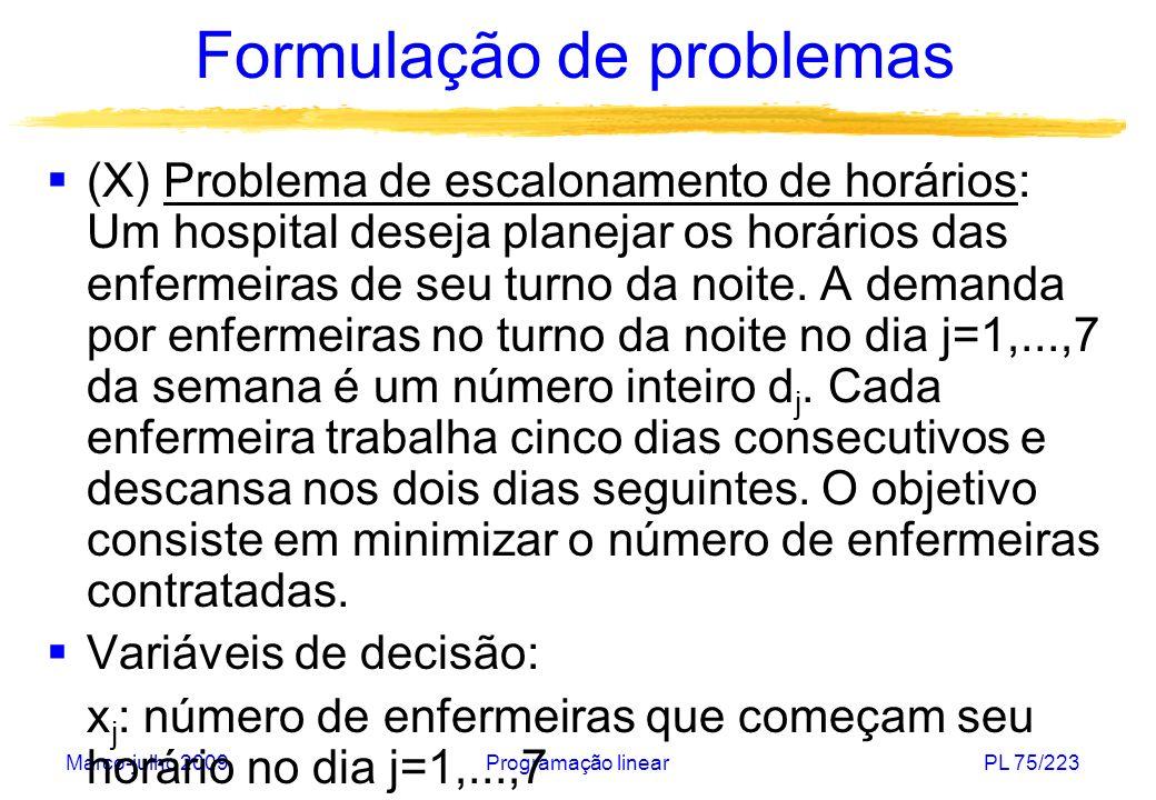 Março-julho 2009Programação linearPL 75/223 Formulação de problemas (X) Problema de escalonamento de horários: Um hospital deseja planejar os horários