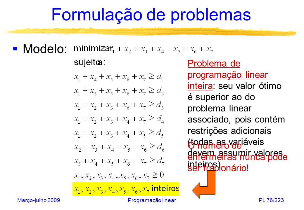 Março-julho 2009Programação linearPL 76/223 Formulação de problemas Modelo: Problema de programação linear inteira: seu valor ótimo é superior ao do p