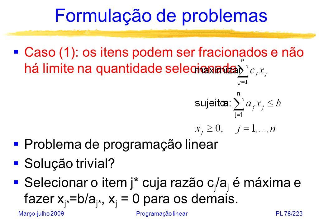 Março-julho 2009Programação linearPL 79/223 Formulação de problemas Caso (2): os itens podem ser fracionados e no máximo uma unidade de cada item pode ser selecionada Problema de programação linear Solução trivial.