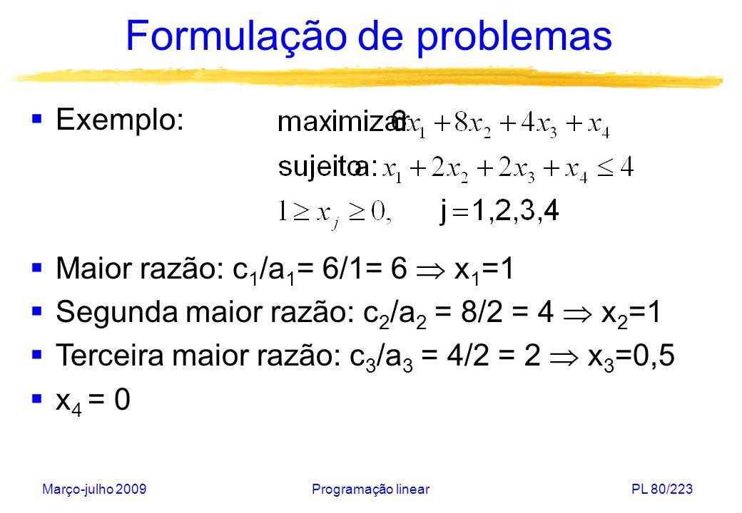 Março-julho 2009Programação linearPL 81/223 Formulação de problemas Caso (3): os itens não podem ser fracionados e no máximo uma unidade de cada item pode ser selecionada Problema de programação inteira Solução trivial.