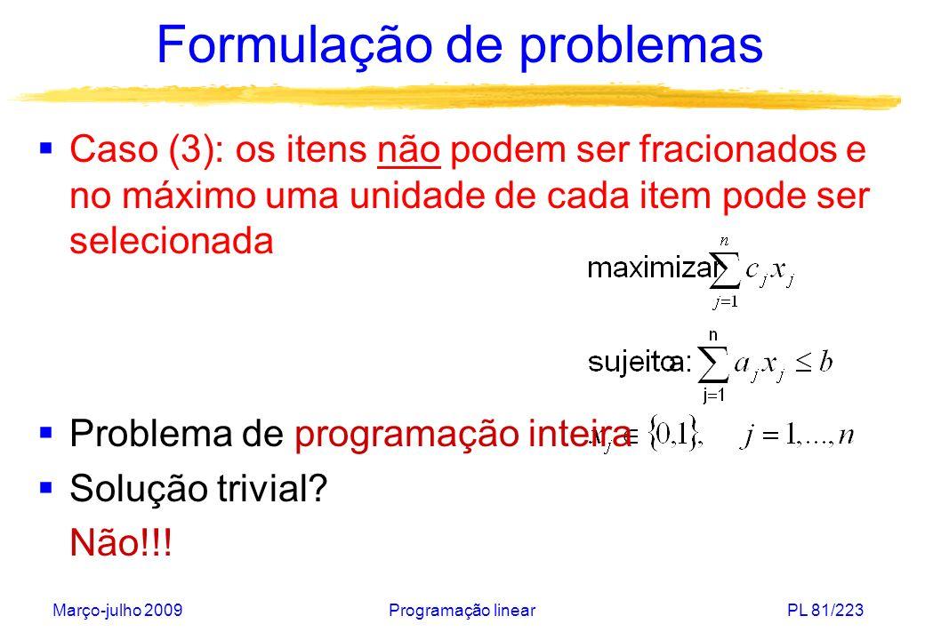 Março-julho 2009Programação linearPL 82/223 Formulação de problemas Exemplo: Maior razão: c 1 /a 1 = 12/3 = 4 x 1 =1 x 2 = x 3 = 0 Esta solução é ótima.