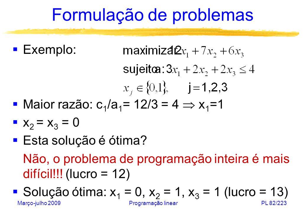 Março-julho 2009Programação linearPL 82/223 Formulação de problemas Exemplo: Maior razão: c 1 /a 1 = 12/3 = 4 x 1 =1 x 2 = x 3 = 0 Esta solução é ótim