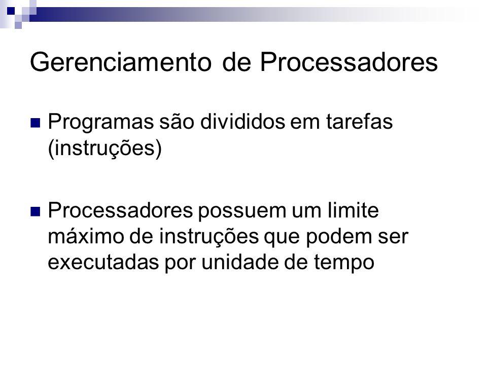 Gerenciamento de Processadores Programas são divididos em tarefas (instruções) Processadores possuem um limite máximo de instruções que podem ser exec