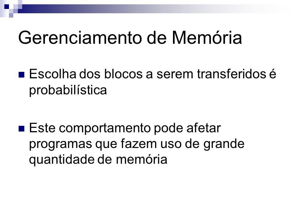 Gerenciamento de Memória Escolha dos blocos a serem transferidos é probabilística Este comportamento pode afetar programas que fazem uso de grande qua