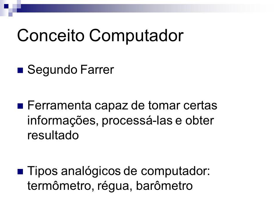 Conceito Computador Segundo Farrer Ferramenta capaz de tomar certas informações, processá-las e obter resultado Tipos analógicos de computador: termôm