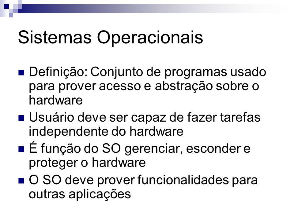 Sistemas Operacionais Definição: Conjunto de programas usado para prover acesso e abstração sobre o hardware Usuário deve ser capaz de fazer tarefas i