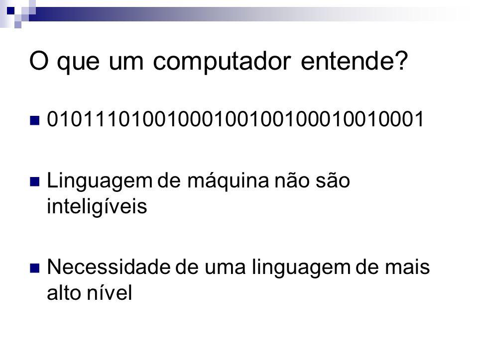 O que um computador entende? 01011101001000100100100010010001 Linguagem de máquina não são inteligíveis Necessidade de uma linguagem de mais alto níve