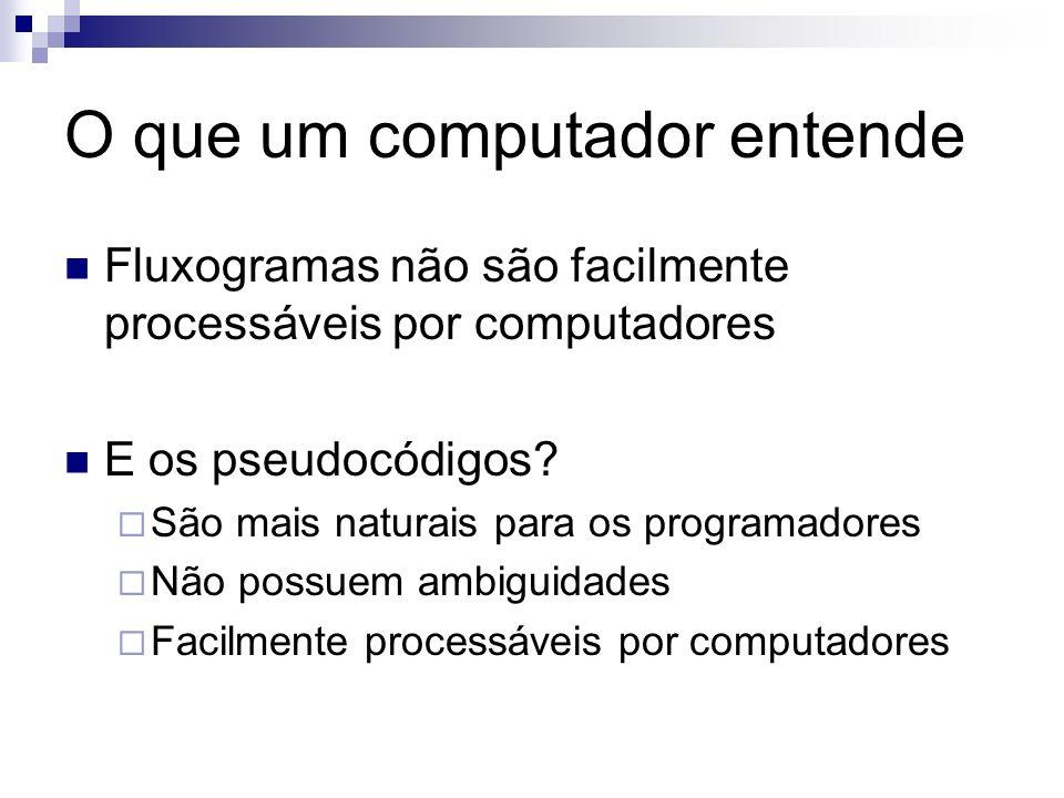 O que um computador entende Fluxogramas não são facilmente processáveis por computadores E os pseudocódigos? São mais naturais para os programadores N