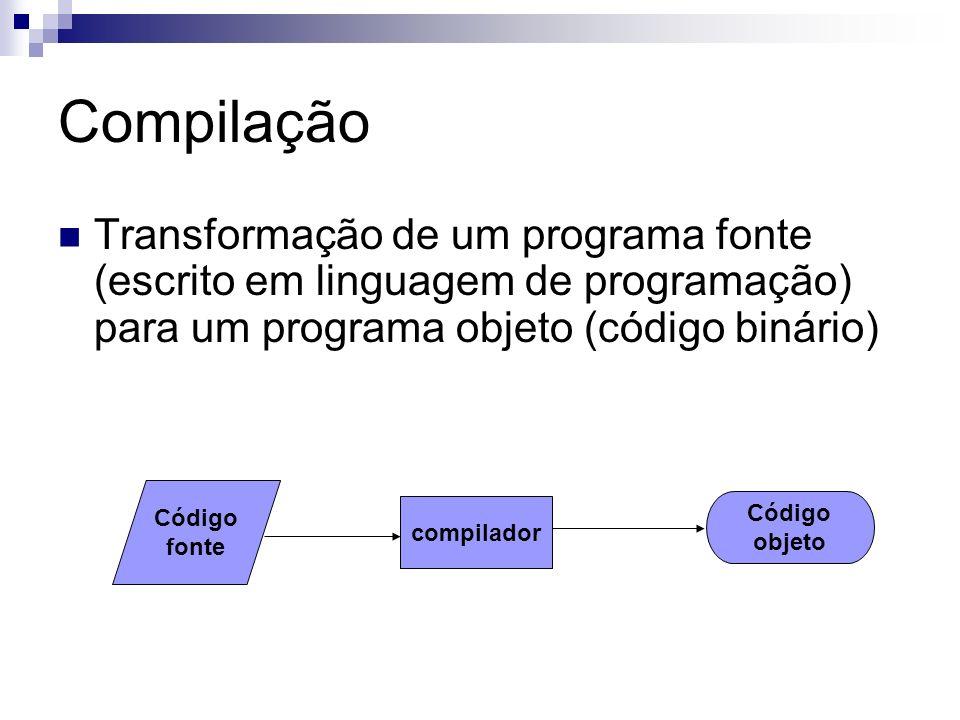 Compilação Transformação de um programa fonte (escrito em linguagem de programação) para um programa objeto (código binário) Código fonte compilador C