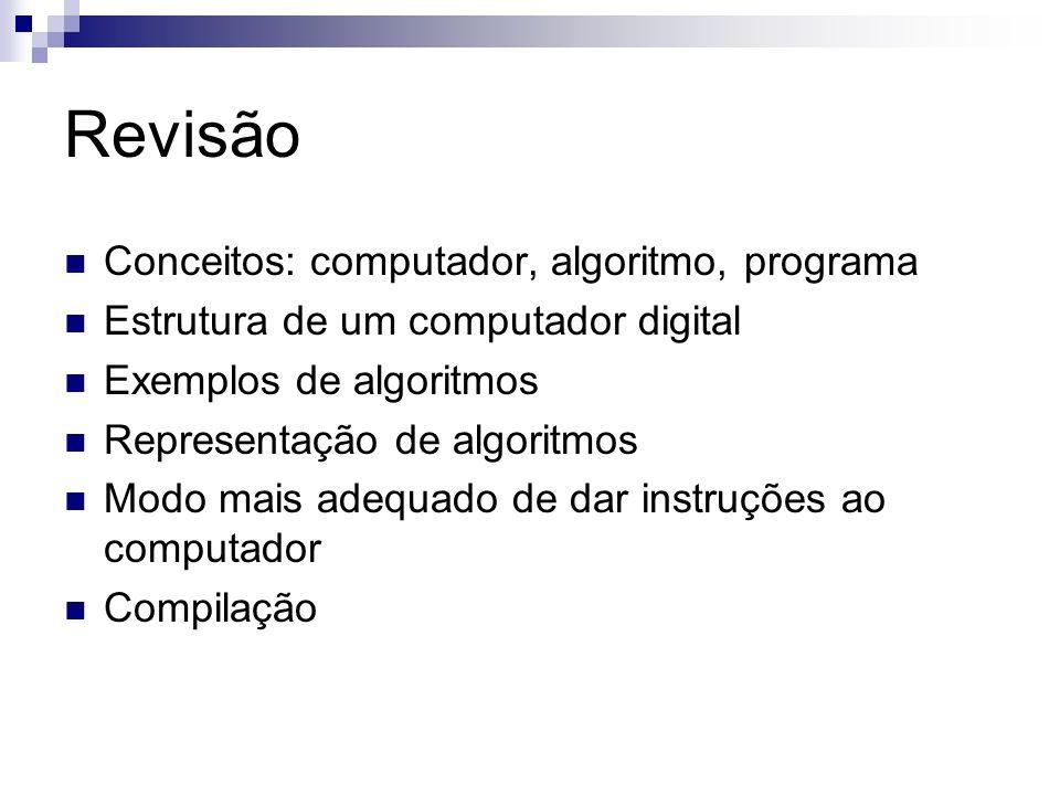 Revisão Conceitos: computador, algoritmo, programa Estrutura de um computador digital Exemplos de algoritmos Representação de algoritmos Modo mais ade
