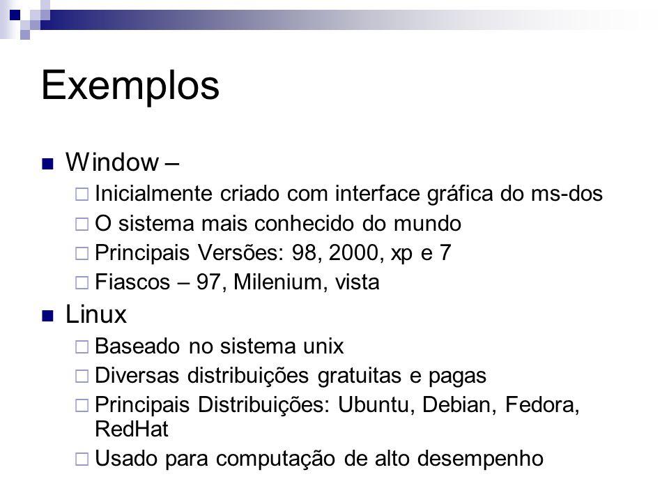Exemplos Window – Inicialmente criado com interface gráfica do ms-dos O sistema mais conhecido do mundo Principais Versões: 98, 2000, xp e 7 Fiascos –