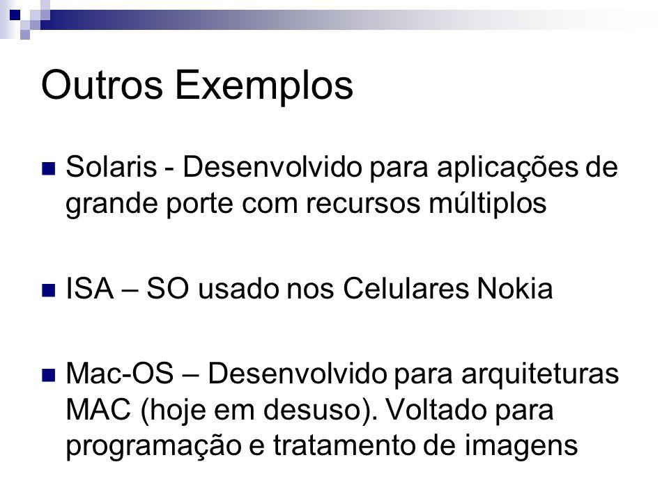 Outros Exemplos Solaris - Desenvolvido para aplicações de grande porte com recursos múltiplos ISA – SO usado nos Celulares Nokia Mac-OS – Desenvolvido